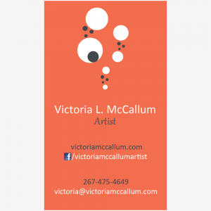 A 1-sided, vertical business card designed for an artist