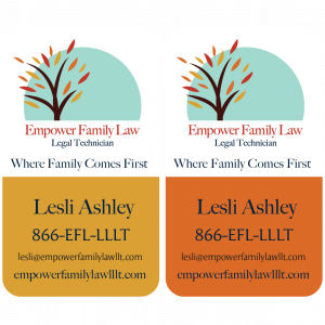 A 2-sided, vertical business card designed for Family Law Legal Technician