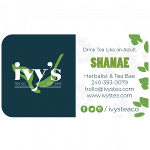 A 1-sided, horizontal business card designed for the owner of Ivy's Tea