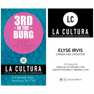 A 2-sided, vertical business card designed for the owner of La Cultura