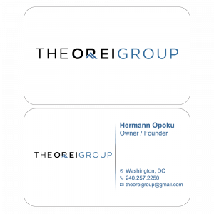 A 2-sided, horizontal business card designed for Orei Group